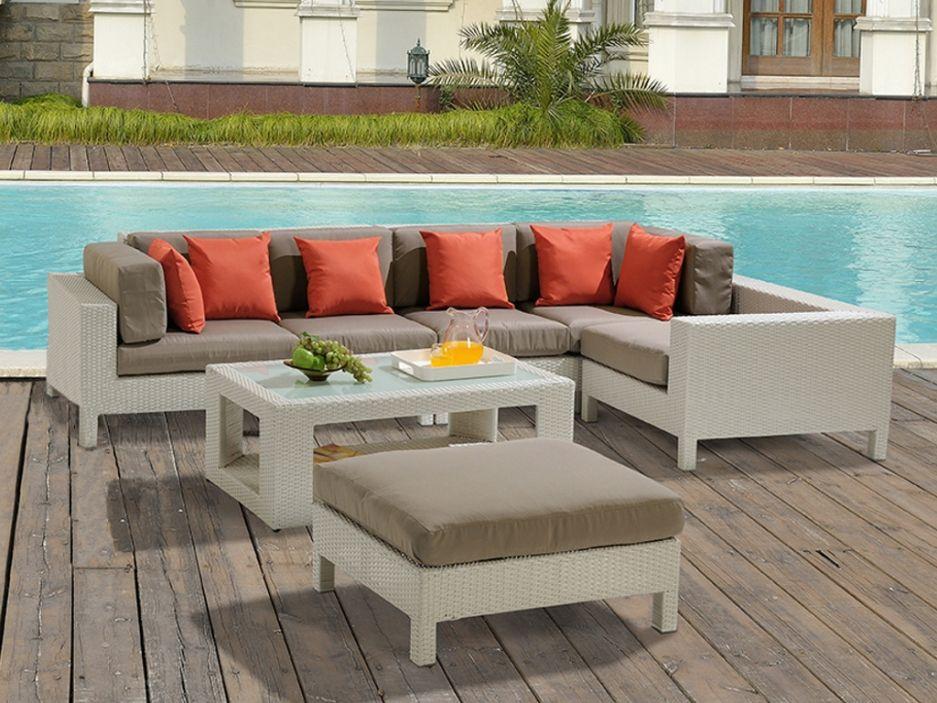 Salon de jardin LAGON en résine tressée blanche: un canapé 5 places ...