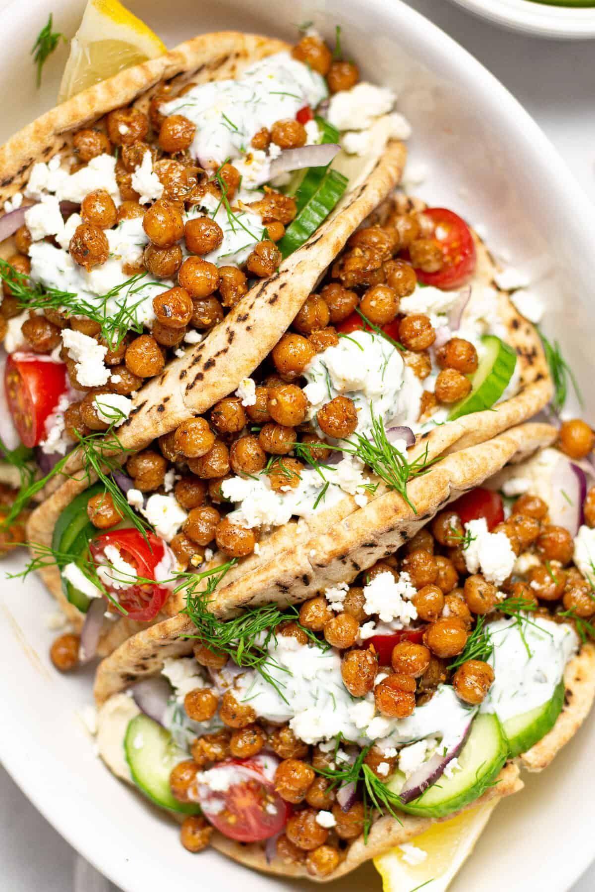 Easy Vegetarian Chickpea Gyros Recipe Quick Vegetarian Dinner Vegetarian Dinners Vegetarian Dinner