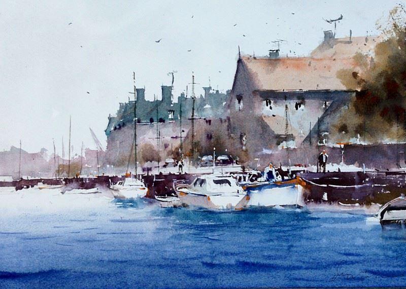Ian Michael McManus (UK) Blakeney Hotel. watercolour.