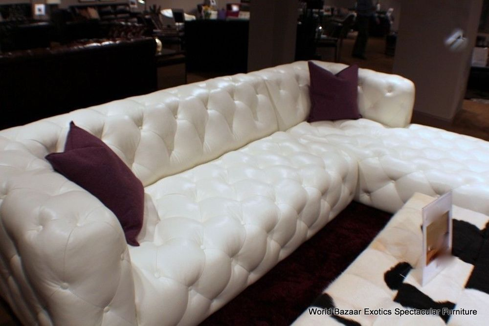 "118"" sectional bright white top grain leather Tufted LSF sofa RSF"