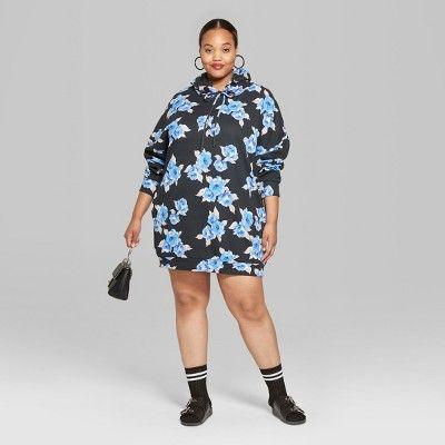 f92b0b79e65 Women s Plus Size Long Sleeve Floral Hooded Sweatshirt Dress - Wild Fable  Black Blue 3X