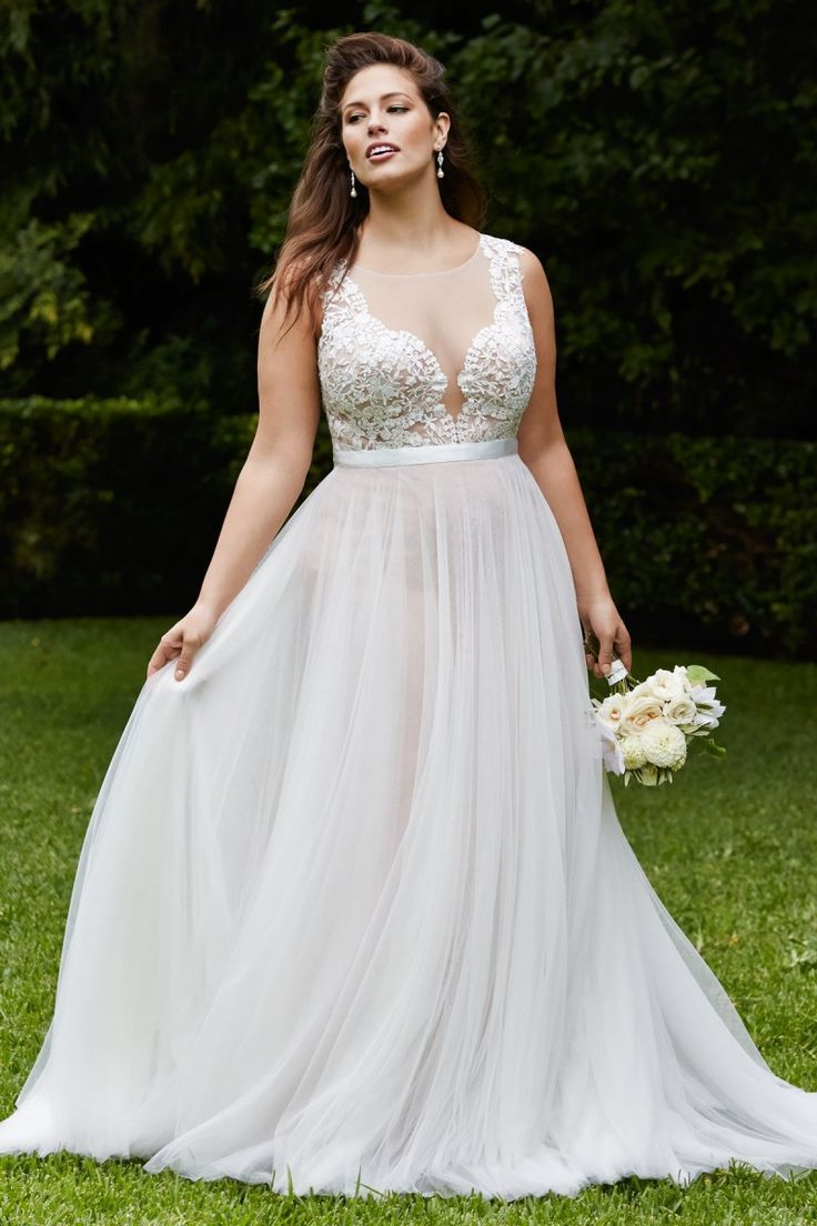 Plus size wedding dresses white chiffon a line lace sheer neck