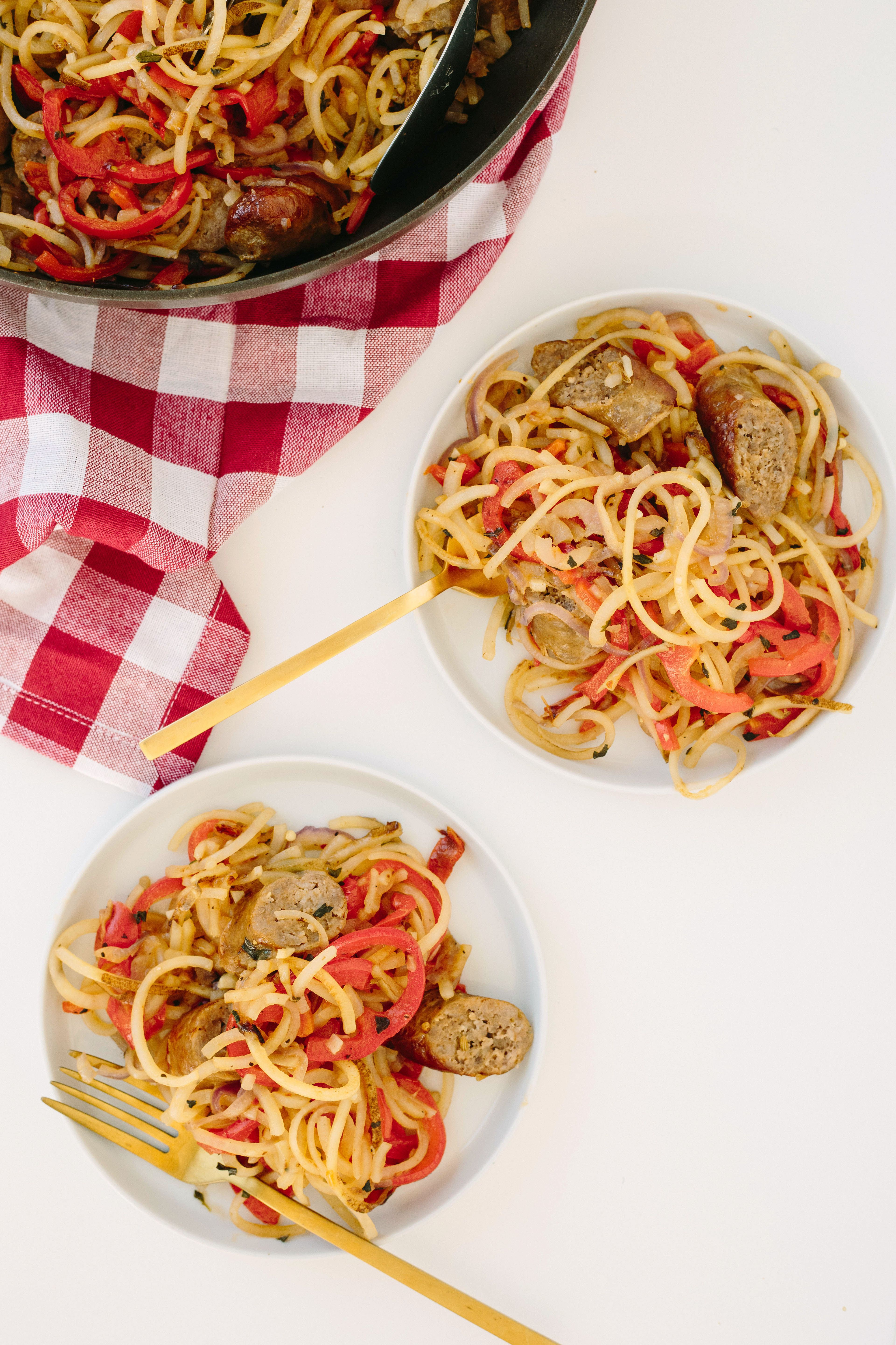 Mom's Spiralized Peppers, Onions, and Potatoes with Sausage - Weight Watchers SmartPoints*: 6 points