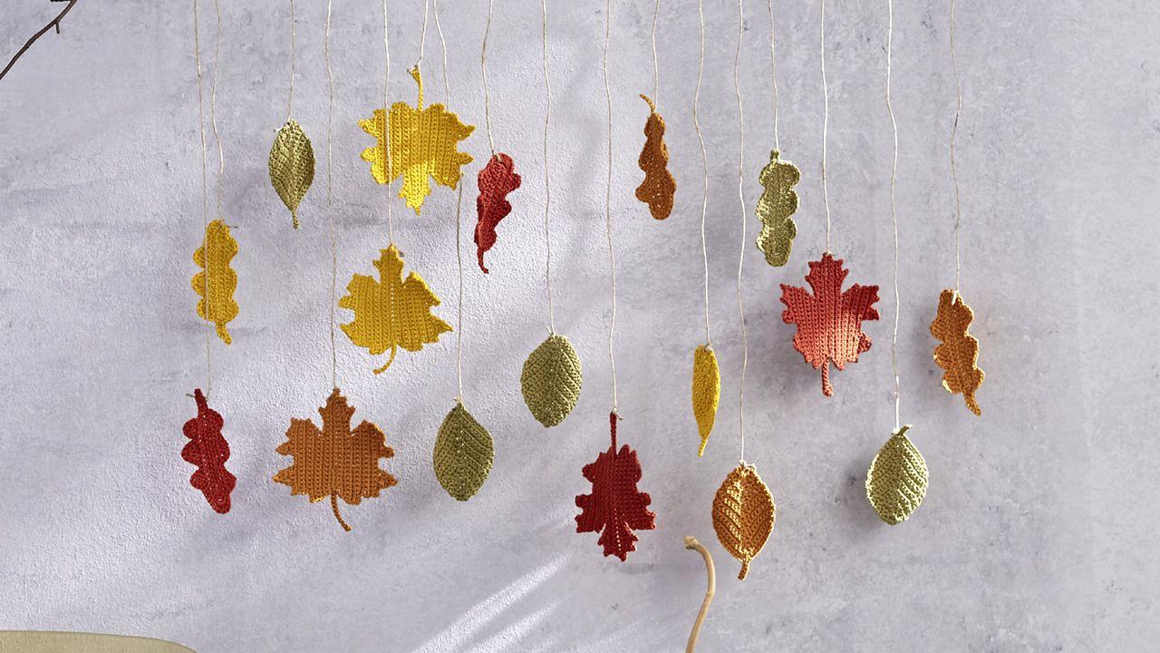 Herbstliche Blätter Häkeln Strickdesignerin Tanja Steinbach Hat