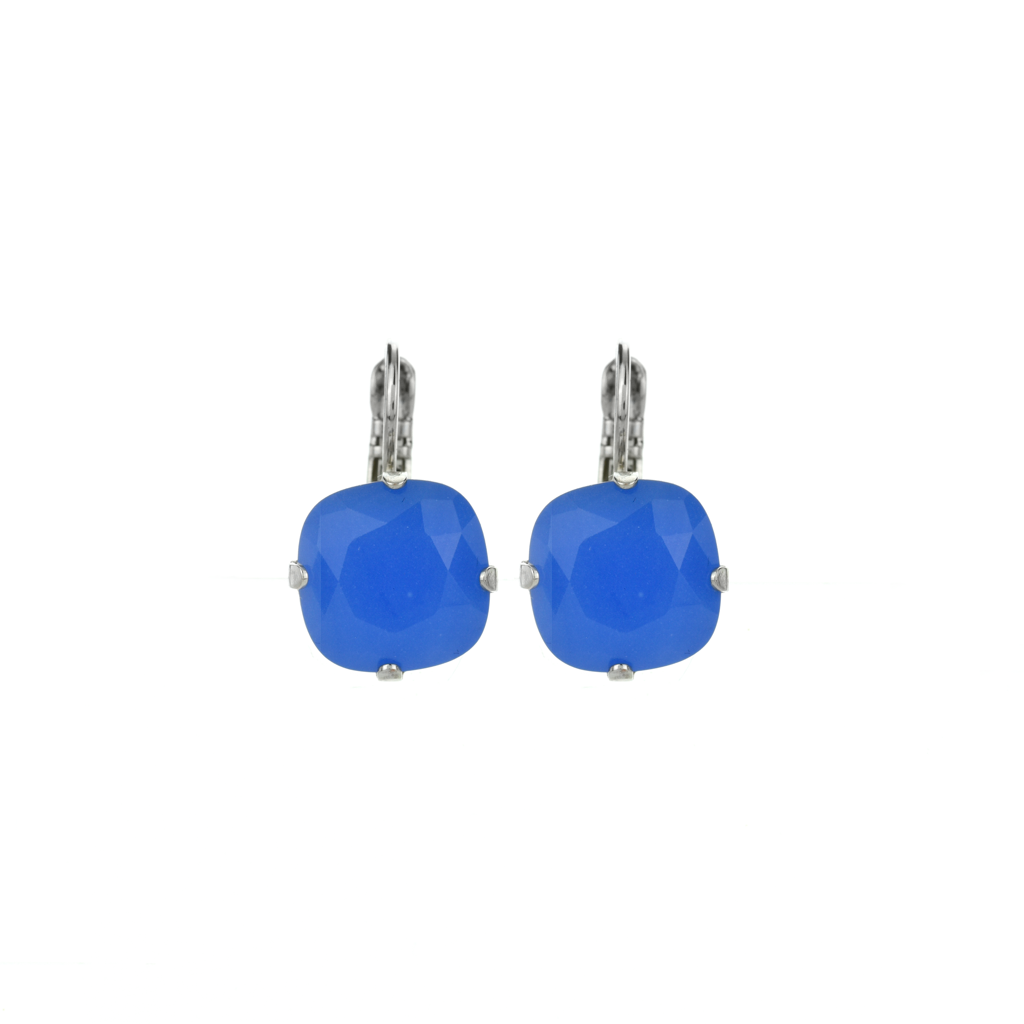Photo of Cushion Cut Leverback Earrings in Iris *Preorder* – Rose Gold