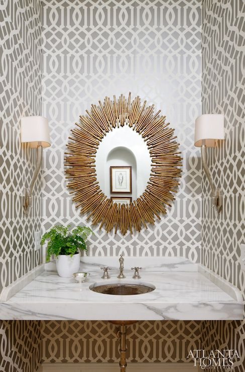 Superior Schumacher Imperial Trellis Wallpaper Part - 11: Imperial Trellis Wallpaper From Schumacher Canvases The Powder Room Walls.  A Starburst Mirror From Bungalow Classic And Circa Lighting Sconces Above  The ...
