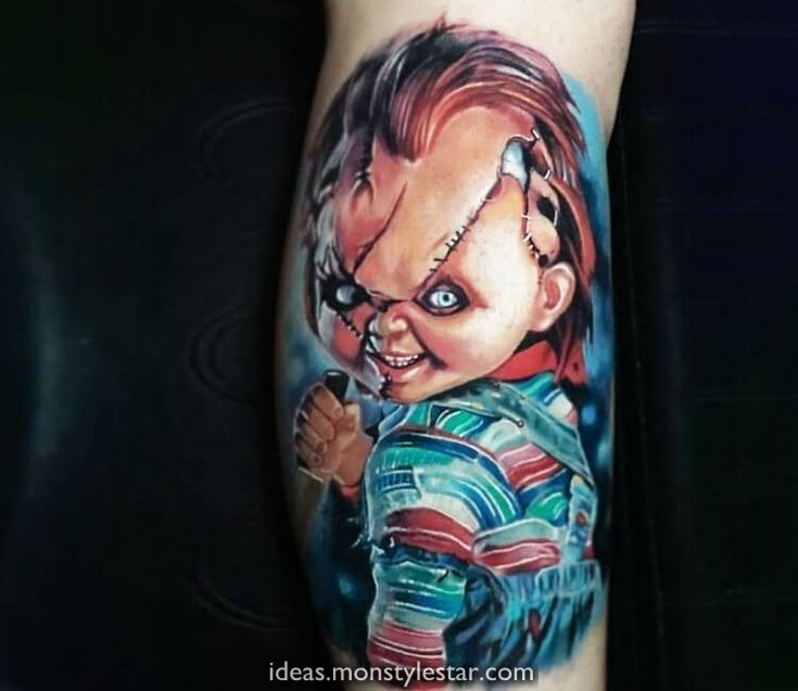 Realistic Coloring Of Chucky: Chucky Tattoo Par Paul Acker In 2020