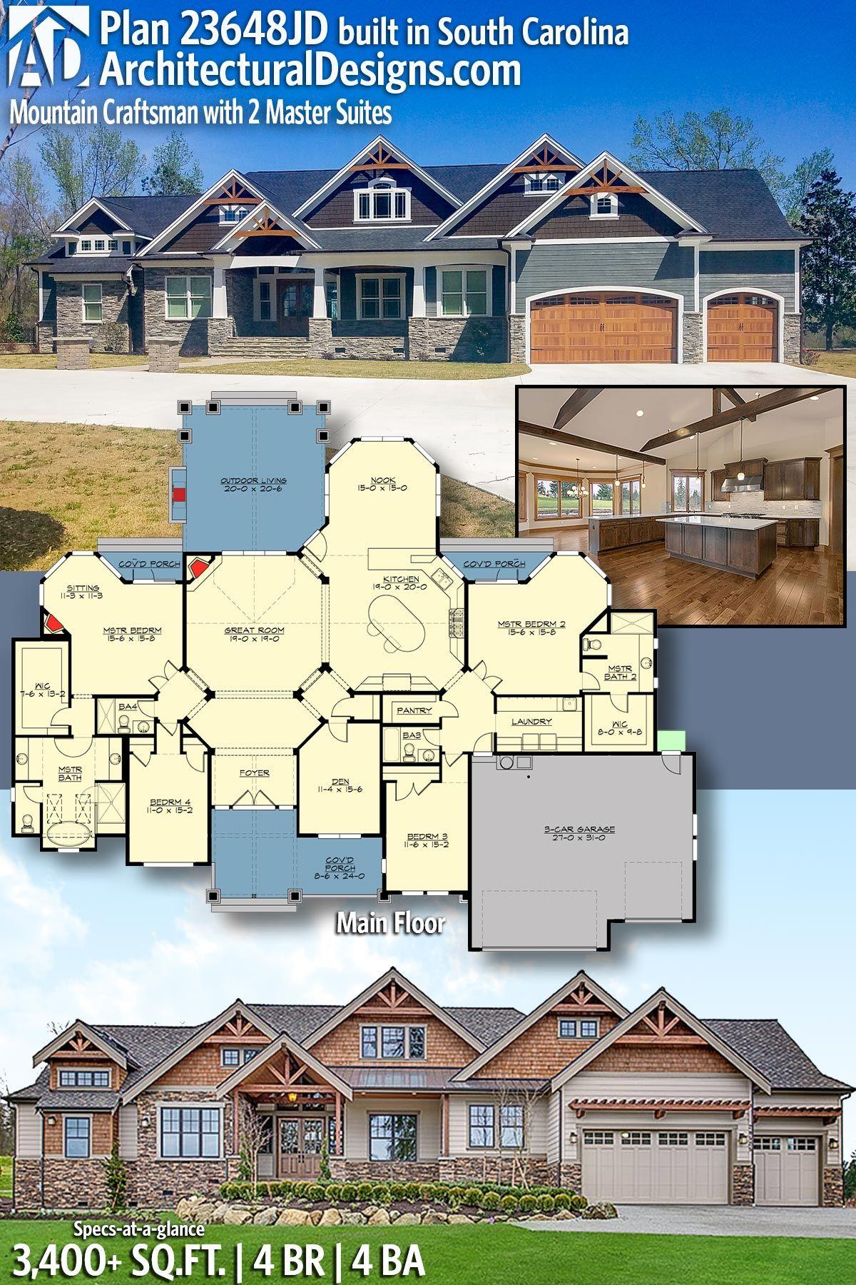 Plan 23648jd Mountain Craftsman With 2 Master Suites Craftsman House Craftsman House Plan House Plans