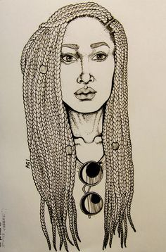 beautiful drawing of woman with long box braids