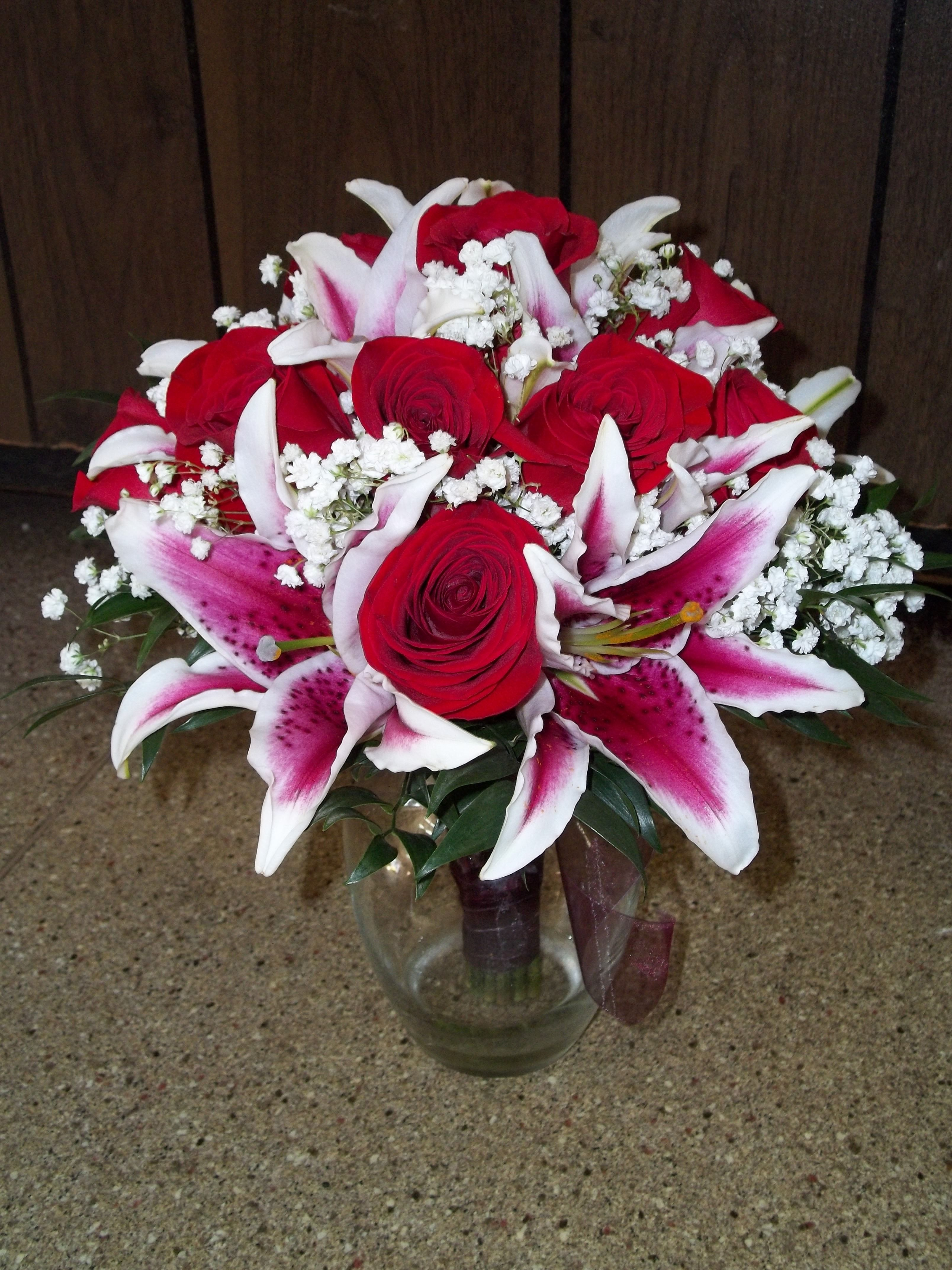 Bridal Bouquet Red Roses Stargazer Lillies And Babies Breath