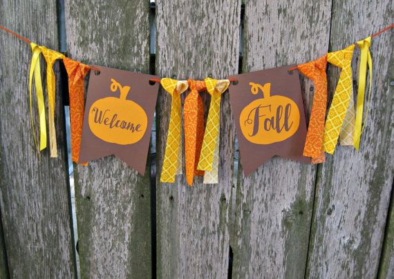 welcome fall banner mixed media fabric ribbon and cardstock the