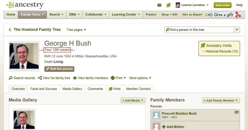 My 12th Cousin George H.W. Bush Through John Howland. (1 ...