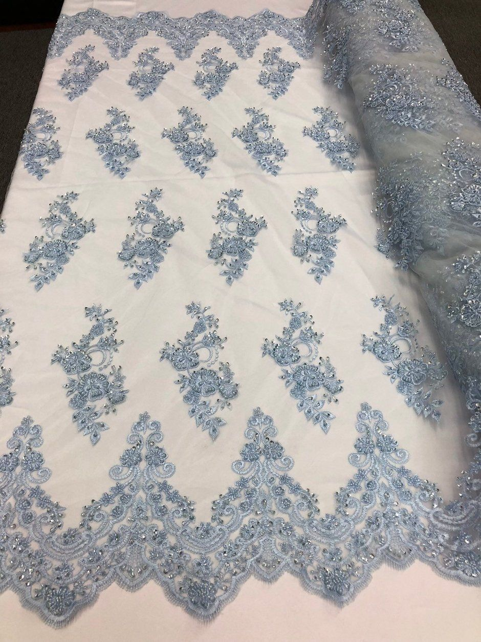LILAC Lace Fabric By The Yard Embroidery Sequins With Soft Mesh Bridal Veil Lace