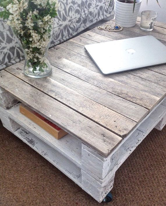 Industrial Wood Coffee Table Distressed Designs: Pallet Wood Coffee Table ESMA In Farmhouse Style With