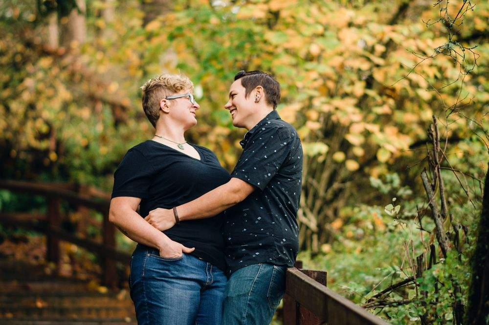 Kayak Point Campground Hike Woods Forest Engagement Lesbian Seattle PNW  Laura Davis Photography