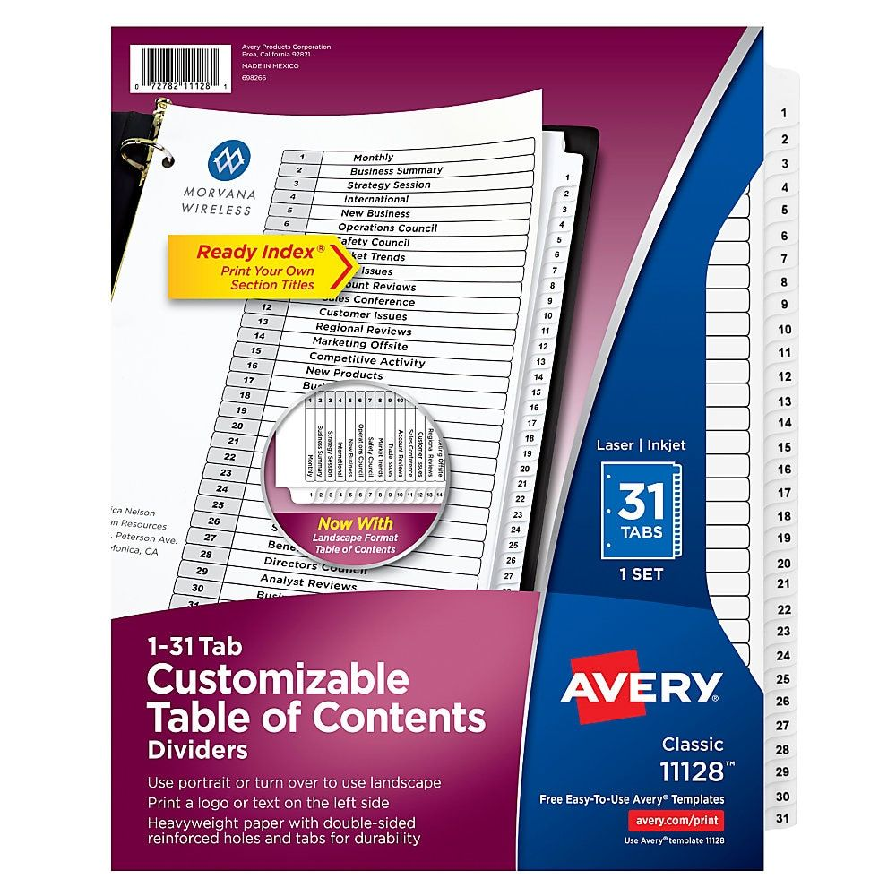 Avery Ready Index 20% Recycled Table Of Contents Dividers