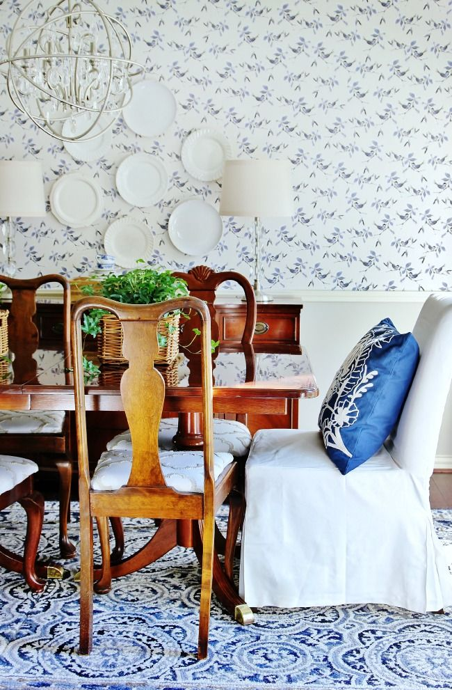 How To Combine Two Smaller Rugs To Make One Larger One. Dining Room Blue White ...