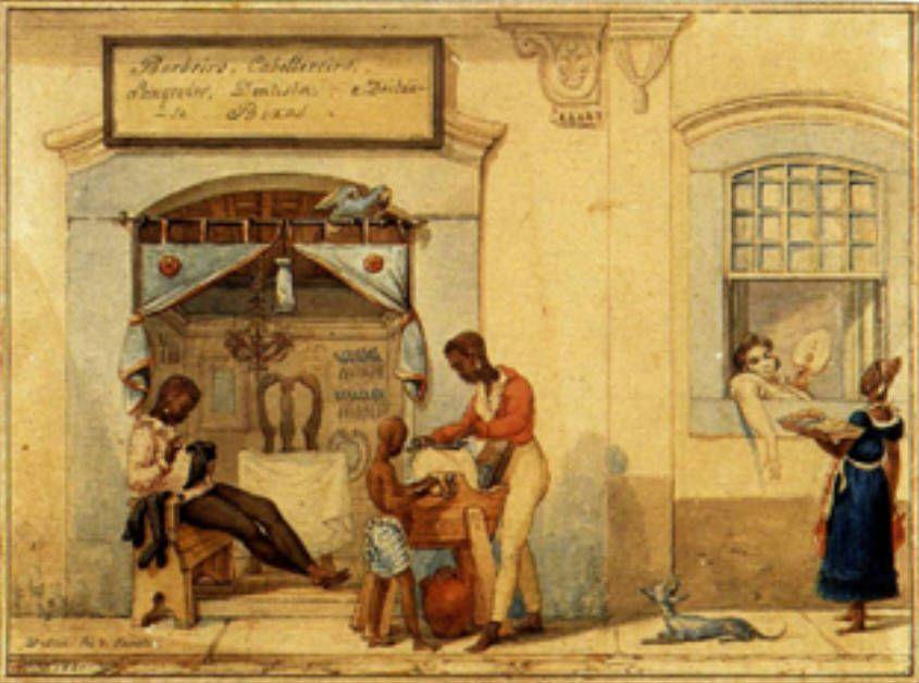 Jean Baptiste Debret - Loja de barbeiros, 1821 - Black people - Wikipedia, the free encyclopedia