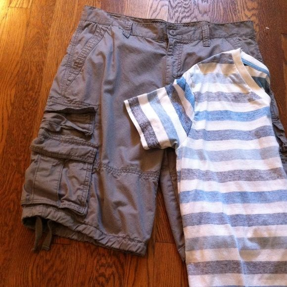 "Mens' Shorts & Top NWOT Grey Short & Striped V-neck Tee. Received as a B-day gift & Never worn. Waist on shorts measures about 35"". Shorts"