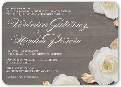 Flores De Amor 5x7 Flat Wedding Invitations by Yours Truly. Send guests a wedding invitation that perfectly expresses your style. All you need are the details of your big day.
