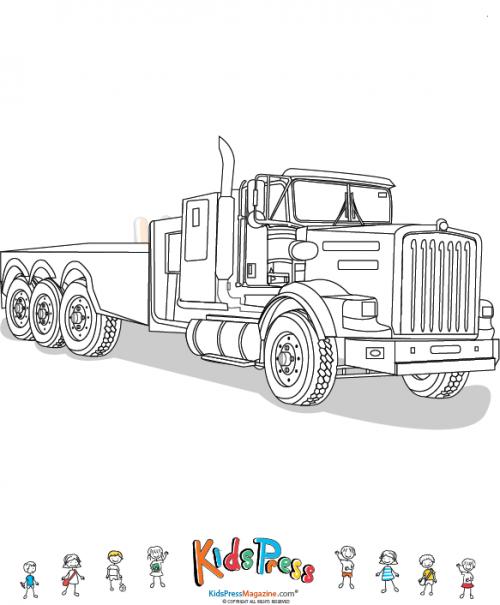 Empty Open Bed Semi Truck Color Page   Pinterest   Semi trucks ...
