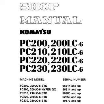 Komatsu Pc200 6 Pc200lc 6 Pc210 6 Pc210lc 6 Pc220 6 Pc220lc 6 Pc230 6 Pc230lc 6 Hydraulic Excavator Shop Manual Sebm010106 Komatsu Electrical Circuit Diagram Hydraulic Excavator