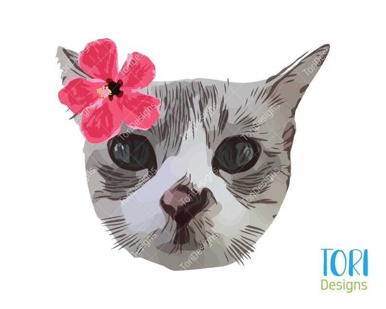 Cat And Flower Cat Png Png Cat Cat Face Png Cat Etsy