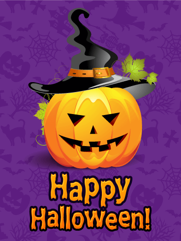 Superior Witch Hat Pumpkin Happy Halloween Card: This Cute Halloween Card Features A  Carved Pumpkin Sporting A Crooked Black Witchu0027s Hat. The Happy Halloween  Message ...
