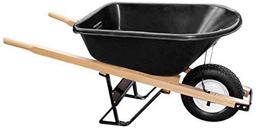 Bon 11 681 Premium Contractor Grade Polytray Single Wheel Wheelbarrow With Wood Handle And Knobby Tire 534 Cubic Feet Read Wheelbarrow Cubic Foot Wood Handle