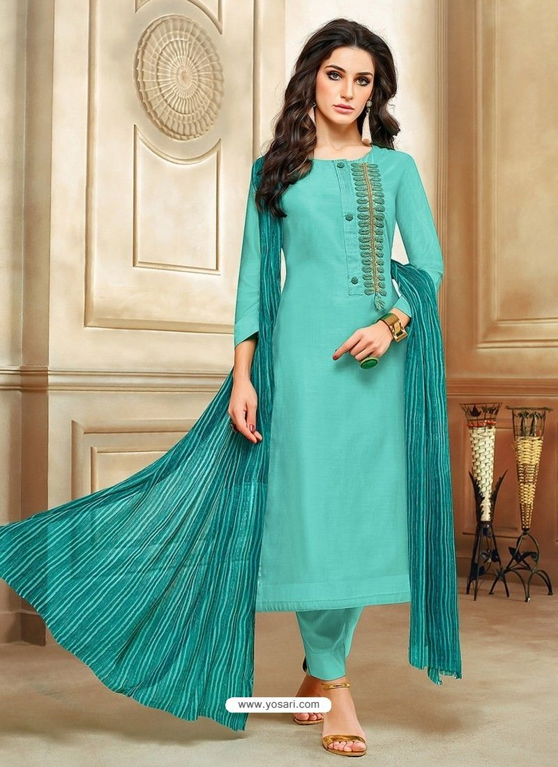 1521868c38 Turquoise Embroidered Chanderi Cotton Designer Straight Suit in 2019 ...