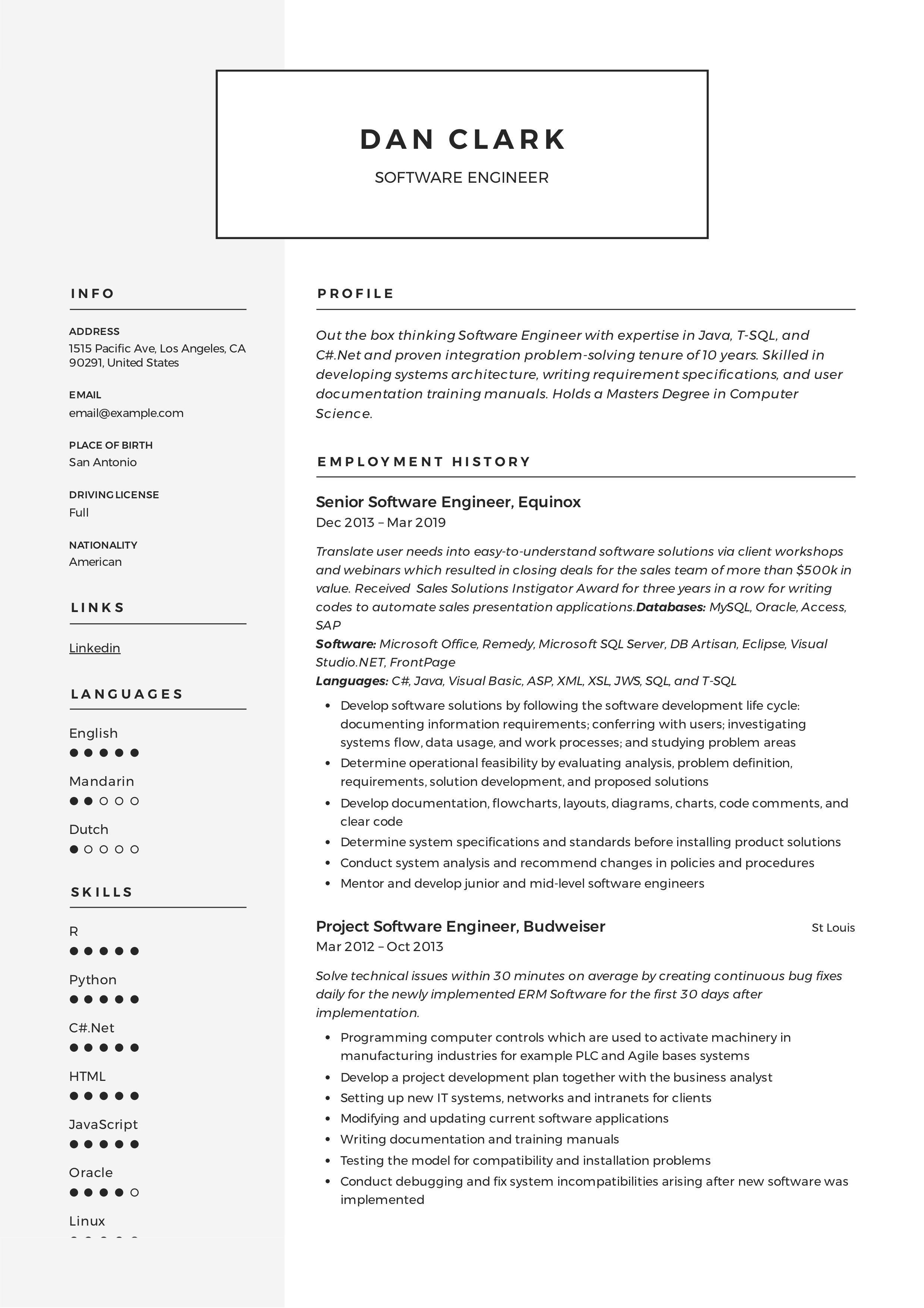 Modern software engineer resume template design tips