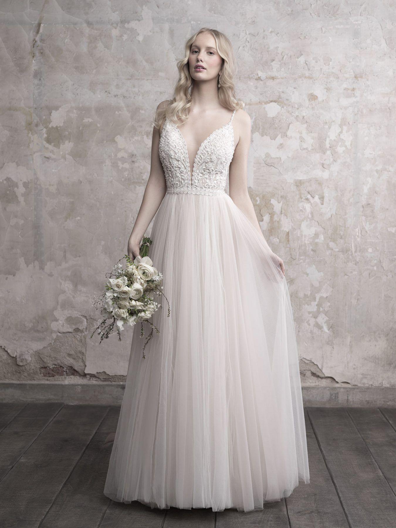 Spaghetti Strap Deep V Neck Lace Bodice Tulle Skirt Wedding Dress Madison James Style Mj45 Madison James Wedding Dress A Line Wedding Dress Allure Bridal