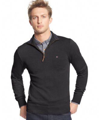TOMMY HILFIGER Tommy Hilfiger Men's Big & Tall Signature Solid Quarter-Zip Sweater . #tommyhilfiger #cloth # big