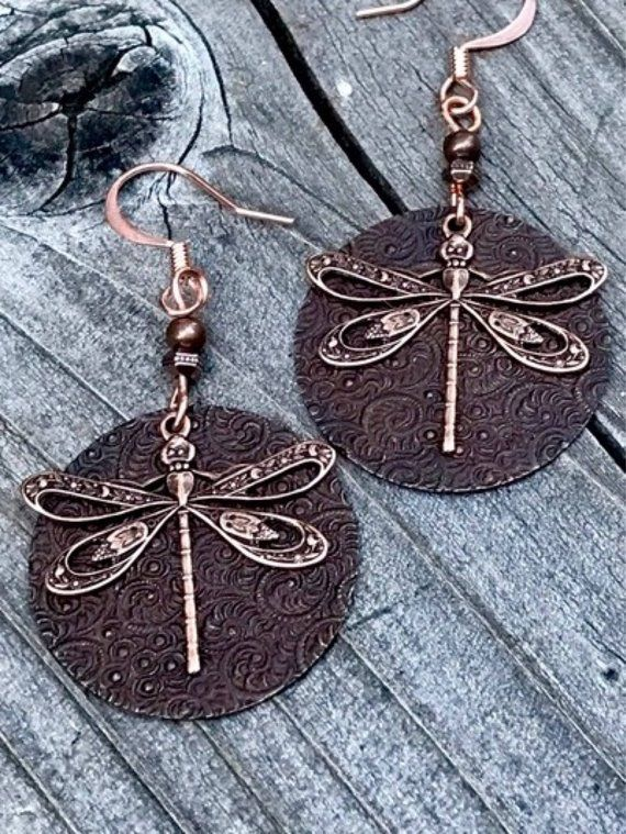 Photo of Dragonfly, Dragonfly earrings, dragonfly jewelry, vintage brass dragonfly earrings