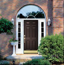 Steel Entry Door With Dual Sidelites Half Circle Transom And Brass Kickplate Steel Entry Doors Front Door Styles Exterior Doors
