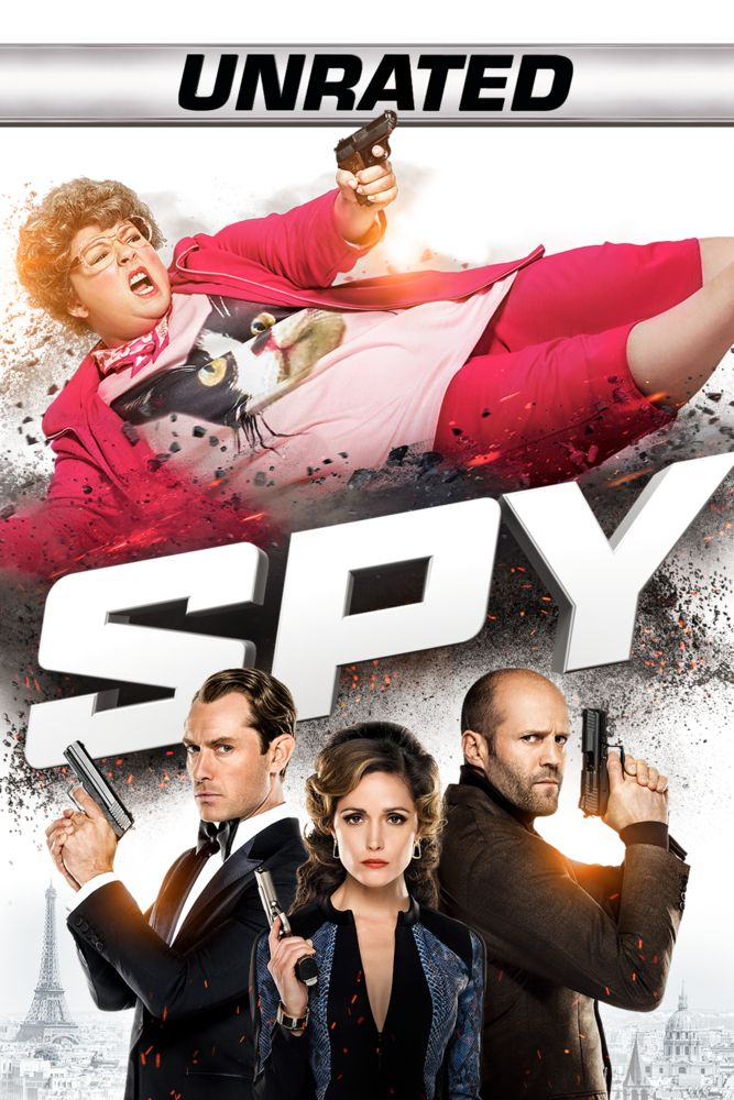 Spy (Unrated) Movie Poster - Melissa McCarthy, Jason Statham, Rose Byrne  #Unrated, #MoviePoster, #Comedy, #PaulFeig, #JasonStatham, #MelissaMcCarthy, #RoseByrne, #Poster