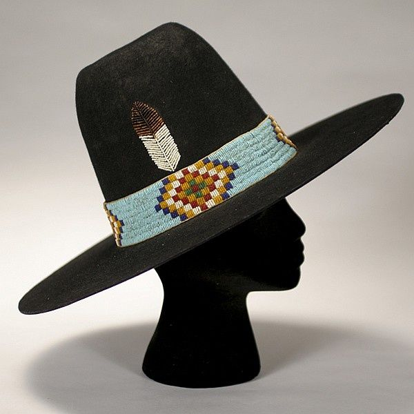 119fe8c7e96 Native American Hat. Beadwork. Feather (I d like this as part of my own hat.  beautiful workmanship!)