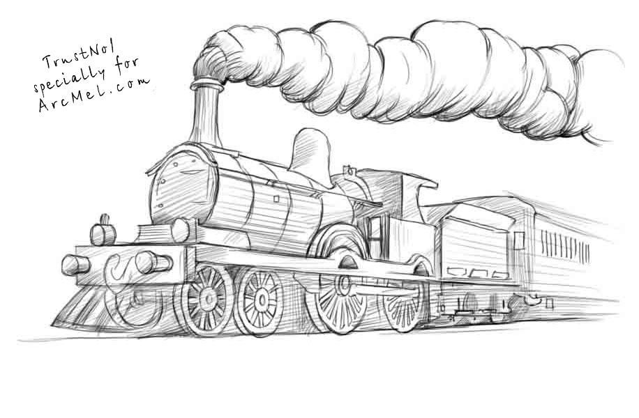 How to draw a steam train Drawing tutorial Art Pinterest - copy lionel trains coloring pages