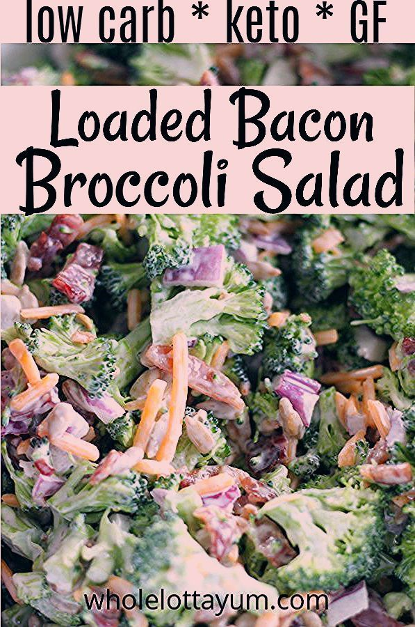An easy Low Carb Keto Broccoli Salad loaded with Bacon, cheese and other goodnes...  An easy Low Ca