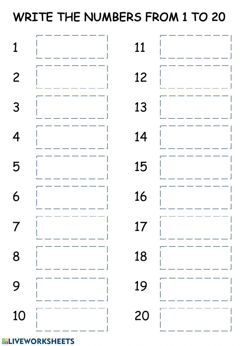 Writing Numbers To 20 Worksheets Writing Numbers 1 20 Interactive Worksheet In 2020 Writing Numbers Number Words Worksheets Writing Practice Worksheets