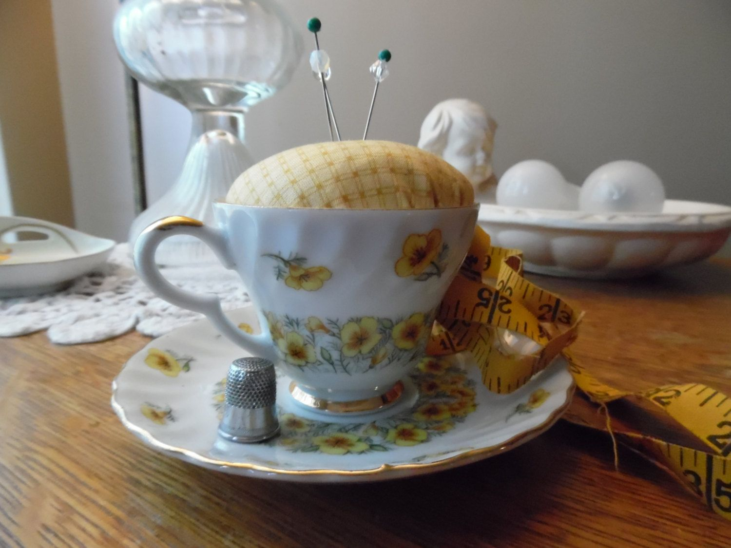 Antique Lefton China August Poppy Teacup and Saucer Pincushion Yellow Fabric, Yellow Flowers Gold Trim Sewing Quilting Pin Cushion by KylesUpcycle on Etsy