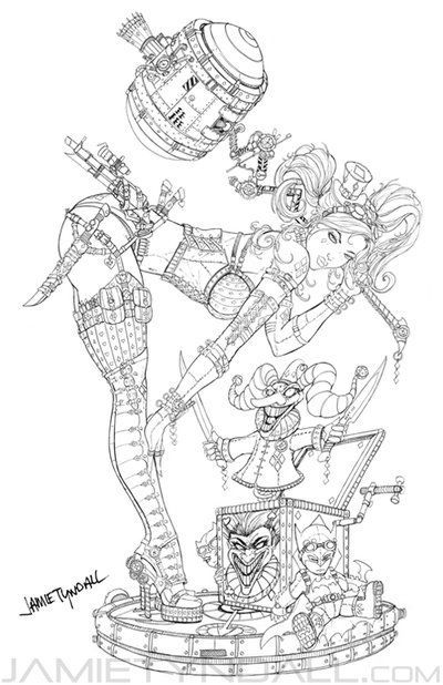 here is the line art for the harely quinn steampunk piece enjoy steampunk harley quinn line art - Line Art Coloring Pages