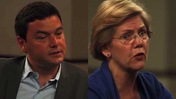 Sen. Liz Warren and Thomas Piketty discuss capitalism - VIDEO - http://holesinthefoam.us/watch-sen-elizabeth-warren-and-author-thomas-piketty-discuss-economic-inequality/