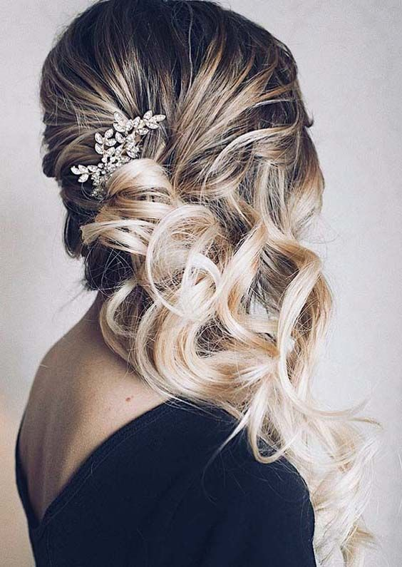 Romantic Ideas Of Side Swept Soft Bridal Curls in 2018 ...