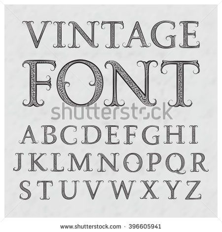 Vintage Patterned Letters Vintage Font In Floral Baroque Style