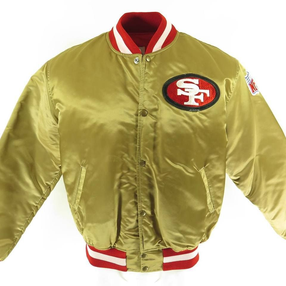 p Real deal vintage Starter Pro Line 49ers gold satin jacket with an oval  49ers patch on front. This authentic Starter jacket is the perfect way to  ... f0c3faf5926f