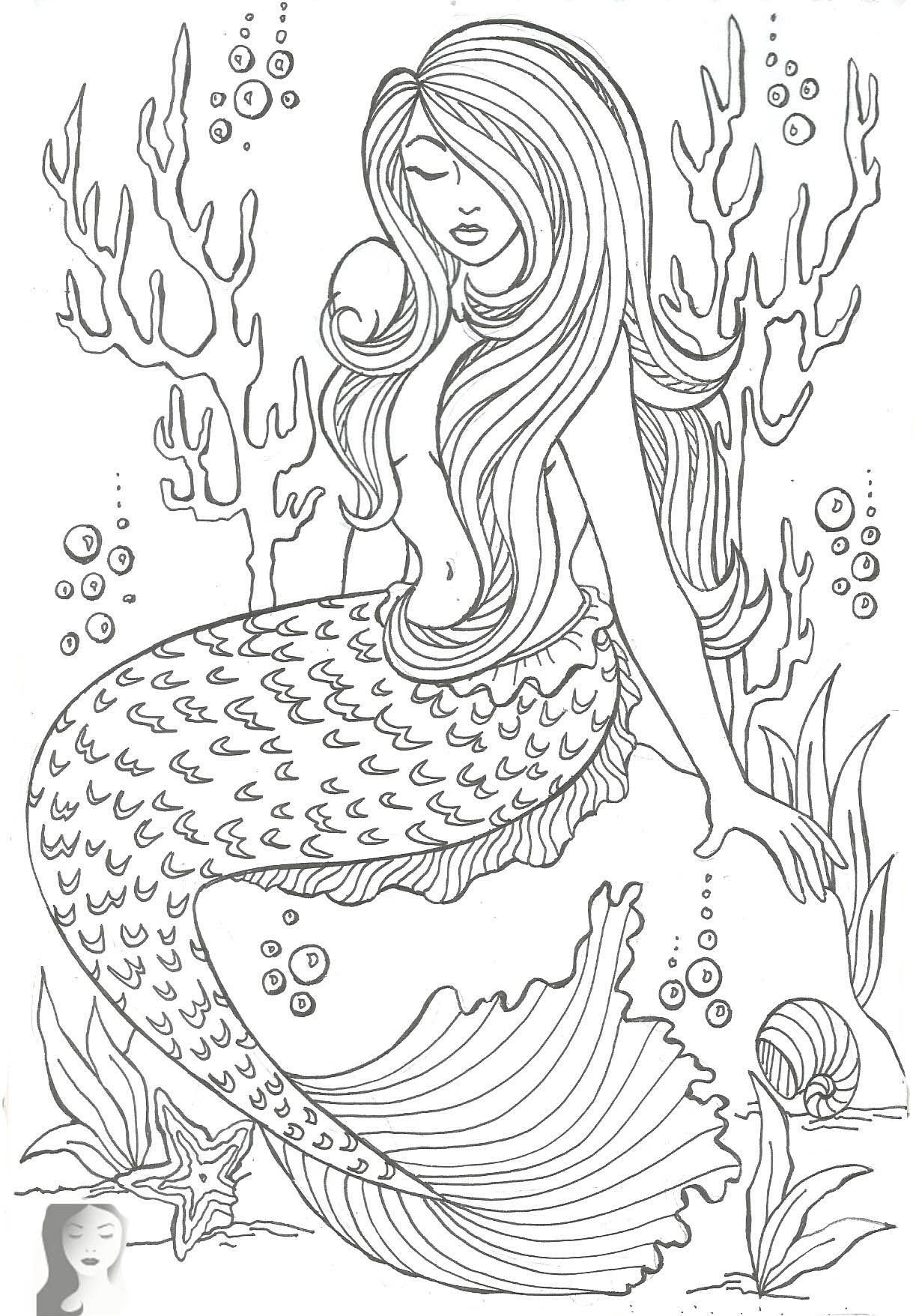 Mermaid Coloring Page Pages For Adults And Mermaid Coloring Pages Realistic Mermaid Mermaid Coloring Book