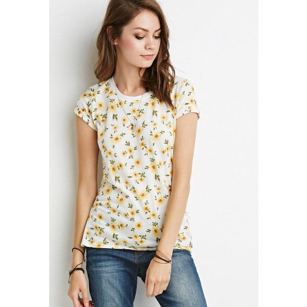 62be71cfc548f Forever 21 Sunflower Print Tee ( 8.90) ❤ liked on Polyvore featuring tops