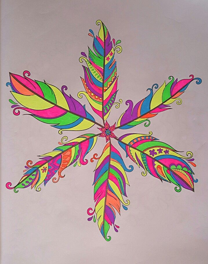 Feather Mandala From Nature Mandalas By Thaneeya McArdle Colored With TekWriter Gel Pens