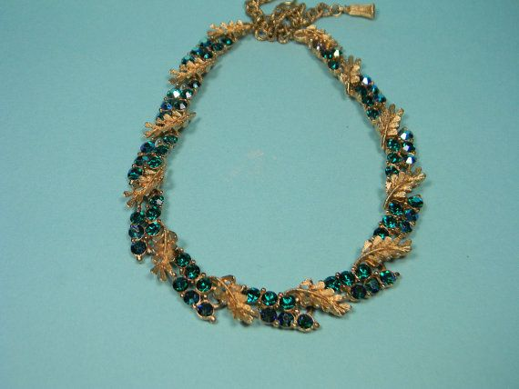 BSK Green Blue Necklace Rhinestones Aurora Borealis by dianadivine